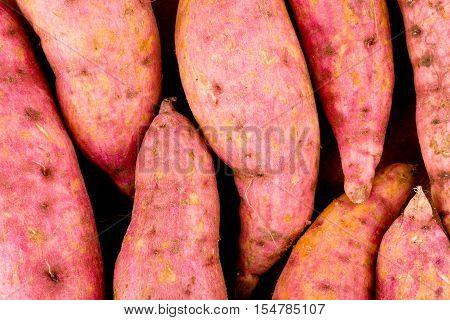 organic orange sweet potato yam  on white background healthy fruit food isolated