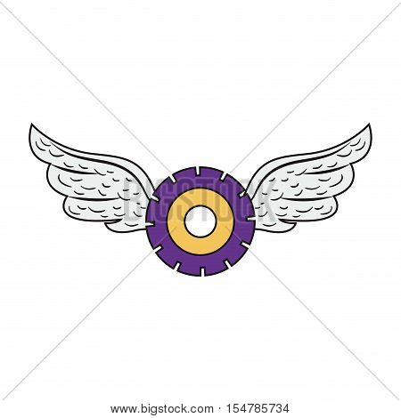 purple and yellow gear wheel with wings icon over white background. vector illustration
