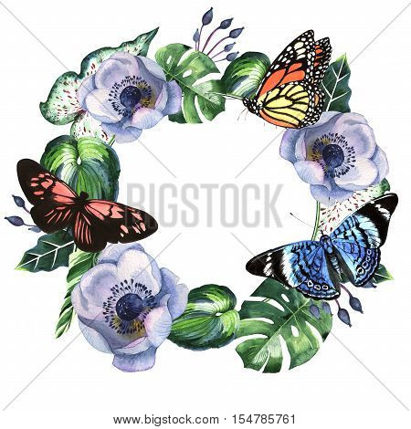 Tropical flowers with butterflies framein a watercolor style isolated. Aquarelle tropical wild flower for background, texture, wrapper pattern, frame or border.