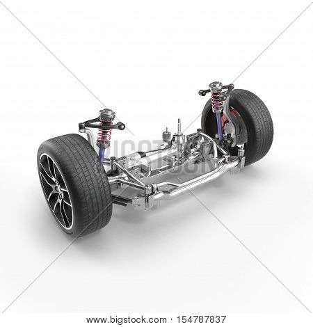Shock Absorber and car suspension on white background. 3D illustration