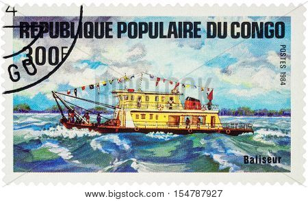 MOSCOW RUSSIA - AUGUST 05 2016: A stamp printed in Congo shows image of small motor ship series