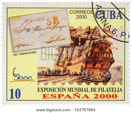 MOSCOW RUSSIA - NOVEMBER 02 2016: A stamp printed in Cuba shows ancient sailing ship and boats with sailors series 'World Stamp Exhibition