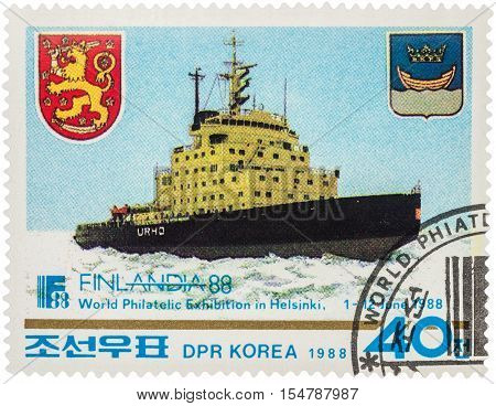 MOSCOW RUSSIA - AUGUST 17 2016: A stamp printed in DPRK (North Korea) shows nuclear-powered icebreaker devoted to the World Philatelic Exhibition in Helsinki circa 1988