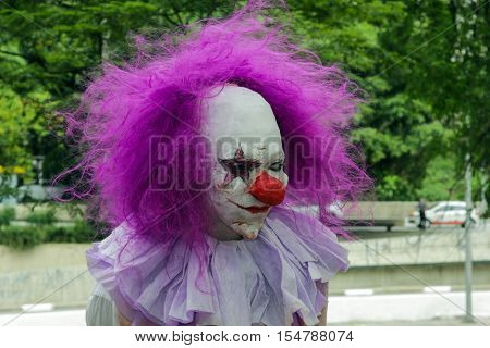 Guy In Scary Clown Costume In Zombie Walk Sao Paulo