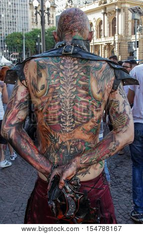 Guy Tattooed In Scary Costume In Zombie Walk Sao Paulo
