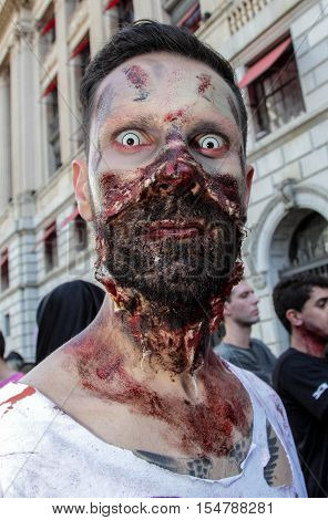 Guy In Scary Costume In Zombie Walk Sao Paulo