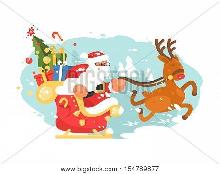 Santa Claus rides in sleigh with gift boxes on deer. Vector illustration
