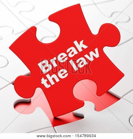 Law concept: Break The Law on Red puzzle pieces background, 3D rendering