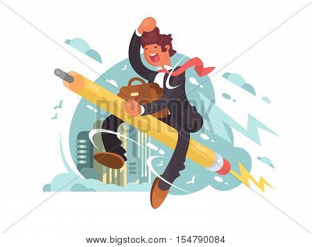 Businessman fly on pencil. Creative aspiration and inspiration. Vector illustration