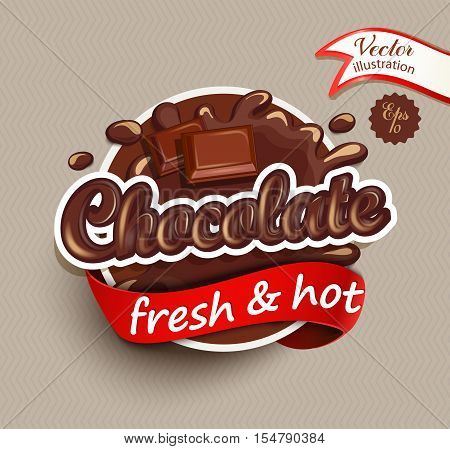 Vector illustration label of chocolate drops and blot with lettering . Sweet and stain and shape.