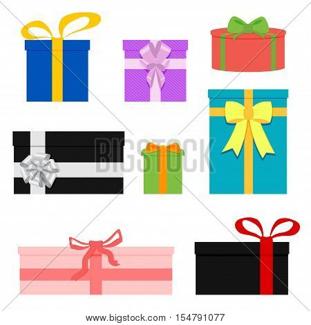Set of colorful wrapped gift boxes. Lots of presents. Flat style vector illustration of boxes. Isolated on white background.
