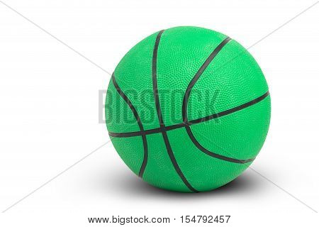 Green basketball on white background and shadow isolated and include path