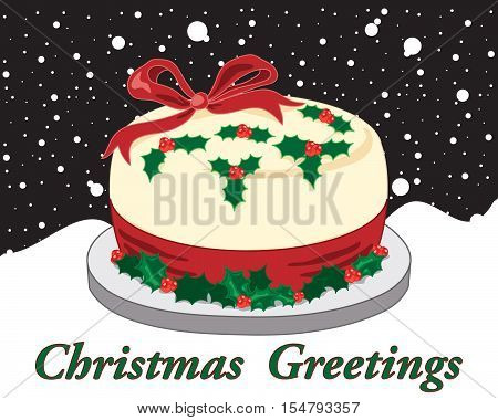 an illustration of a traditional christmas cake decorated with holly and red ribbon with a night time snowy sky in greeting card format