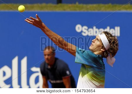 BARCELONA, SPAIN - APRIL, 20: German tennis player Alexander Zverev Jr. in action during a match of Barcelona tennis tournament Conde de Godo on April 20, 2016 in Barcelona