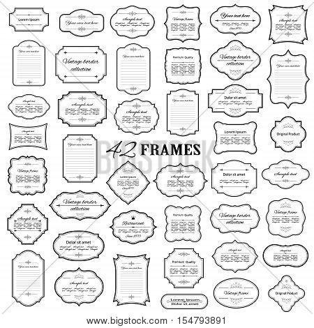 Vintage filigree rames and borders mega set isolated on white.