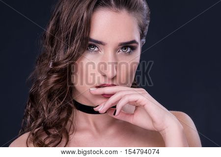 Beauty. Portrait Of A Young Woman With Choker