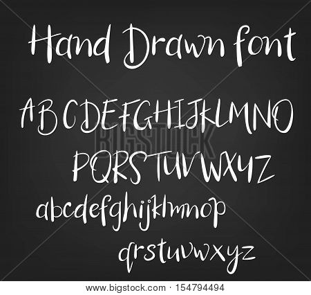Vector hand drawn calligraphic font. Handmade calligraphy tattoo alphabet ABC English lettering lowercase uppercase