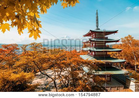 Mt. Fuji and red pagoda with autumn colors in Japan Japan autumn season.