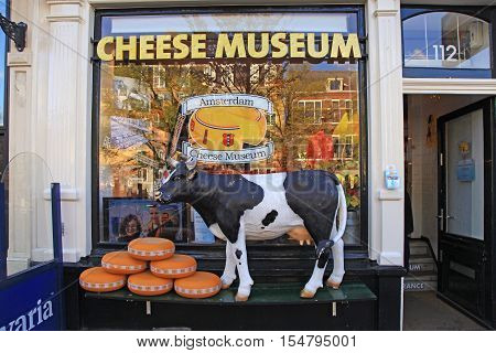 AMSTERDAM, NETHERLANDS - MAY 3, 2016: Entrance to Amsterdam's Cheese Museum, Amsterdam, Netherlands.