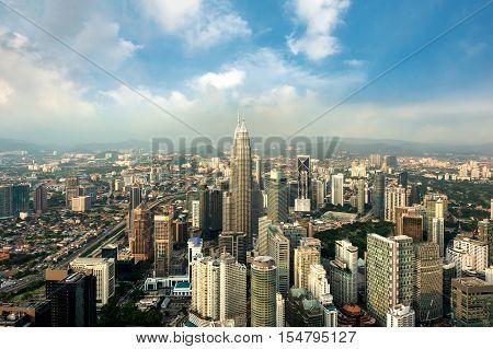 Kuala Lumpur skyline and skyscraper before sunset in Kuala Lumpur Malaysia.