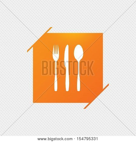 Fork, knife, tablespoon sign icon. Cutlery collection set symbol. Orange square label on pattern. Vector