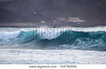ocean wave breaking by Confital beach north East of Gran Canaria October 2016