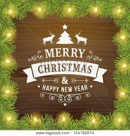 merry christmas and happy new year postcard background. vector holiday greeting card with curl sign and text on wood plank backdrop with twig and light bulbs for print or banners.