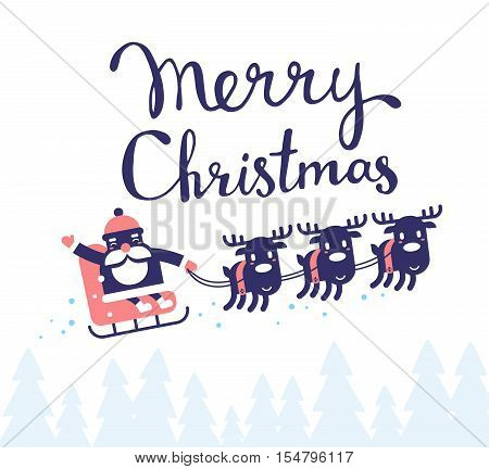 Vector Christmas Illustration Of Flying Santa Claus On Sleigh And Reindeers With Handwritten Text Me
