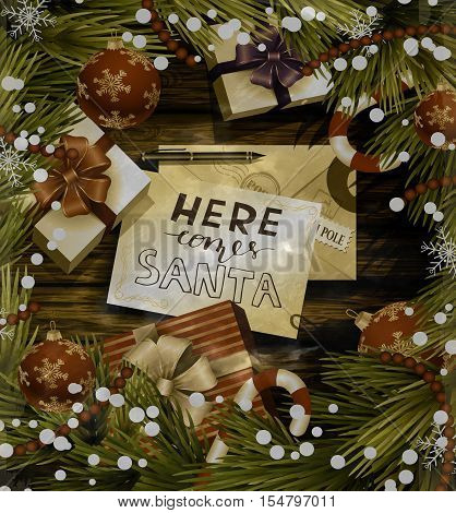 Christmas New Year design wooden background with christmas decorations candy canes snow and balls arranged in a frame with gift boxes and envelope for santa in red and in old grange photo style.