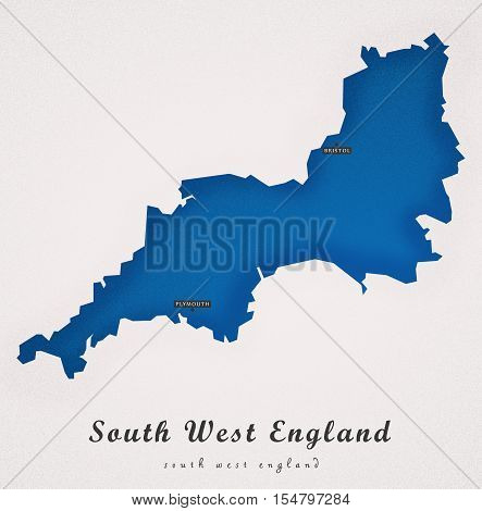 South West England UK Art Map colored illustration