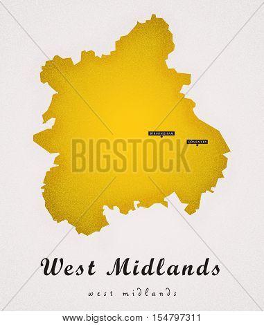 West Midlands UK Art Map colored illustration
