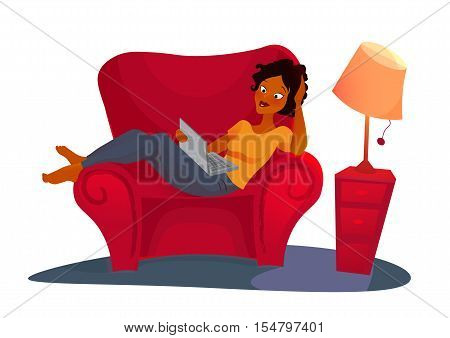 Young adult african woman working at home. vector concept illustration. Freelancer character working at home with laptop computer on cozy sofa.