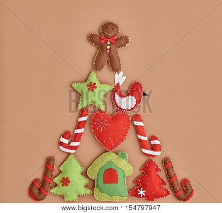 XMAS Design Ornament. Christmas holiday, Happy Gingerbread, like Christmas tree Fir. Christmas background decoration Handmade, Fun New Year 2017. Festive Art christmas Greeting Card. Retro Vintage
