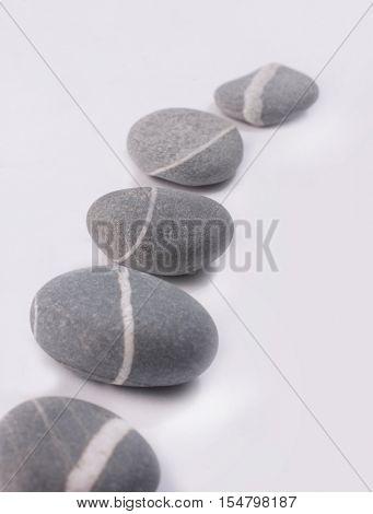 Row of striped gray stones