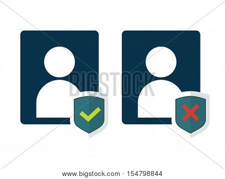 Flat shield with person silhouette symbol and approved or negative status. Privacy icon, personal protection sign, authentication security icon, secure confidentiality label. vector illustration
