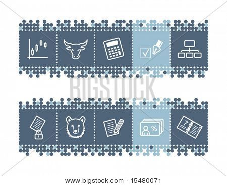 Blue dots bar with invest icons. Vector file has layers, all icons in two versions are included.