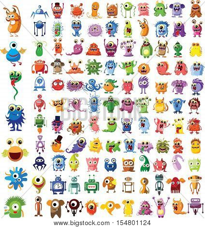 Set of vector cute monsters and robots,illustration picture