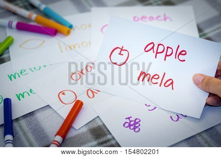 Italian; Learning New Language With Fruits Name Flash Cards