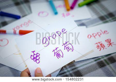 Mandarin; Learning New Language With Fruits Name Flash Cards