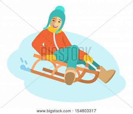 Girl sledding flat vector illustration. A child goes down the on a sled. Kids winter activities. Child in casual warm clothes playing winter games on Christmas holidays. Moving cartoon character. Isolated on white