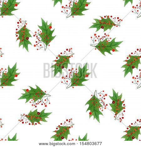 watercolor seamless pattern with hand draw Christmas and New Year elements.:holly berries and leaves