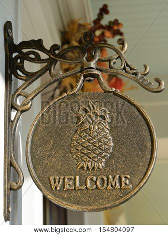 Welcome sign plaque pineapple hospitality front door