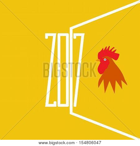 Vector illustration of rooster symbol of 2017. Silhouette of red with flat color style design. Vector element for New Year's design. Image of 2017 year of Red Rooster.