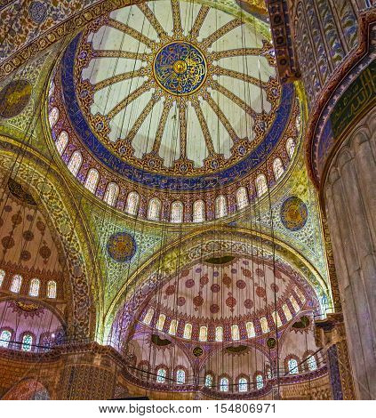 Istanbul, Turkey - Aug 4, 2016: Internal view of Blue Mosque Sultanahmet