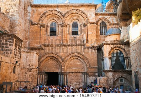 JERUSALEM, ISRAEL - OCTOBER 05, 2016: Entrance to the Church of the Holy Sepulchre in Jerusalem on October 05, 2016, Israel