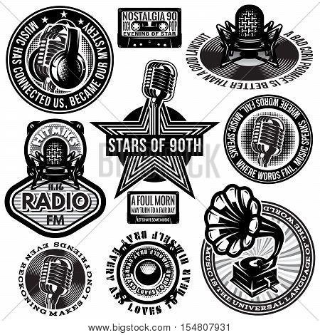 set of retro badges templates gramofon microphones speakers headphones audiocassette