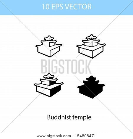 Vector illustration of buddhism temple, vector eps 10 icon isolated on white background