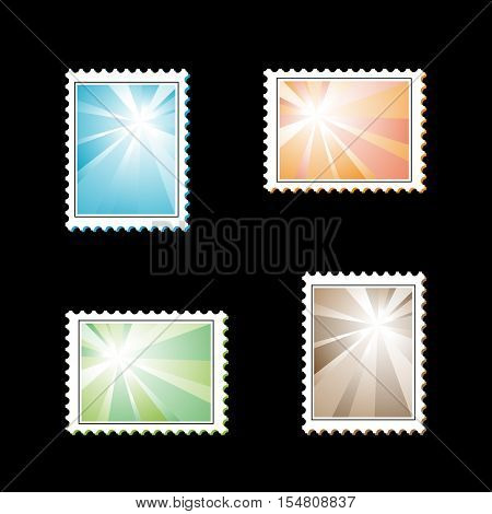 Vector stamps with light rays on black background