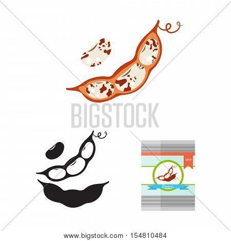 Bean pod vector illustration. Red kidney bean pod and tin.