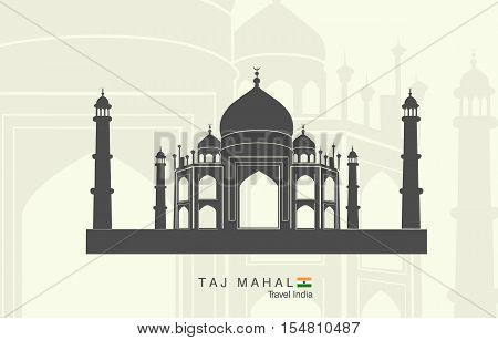 Illustration of isolated the Taj Mahal in India